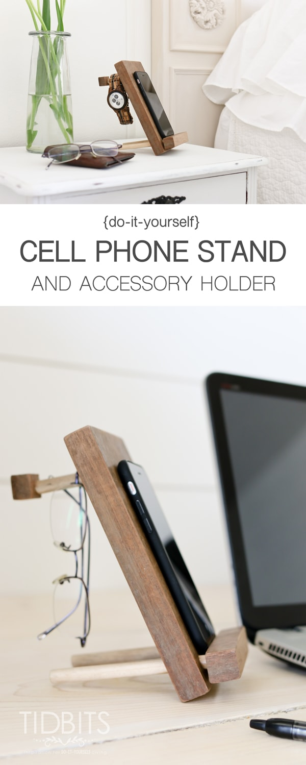 DIY Cell Phone Stand and Accessory Holder - easy to make, wonderful to gift.