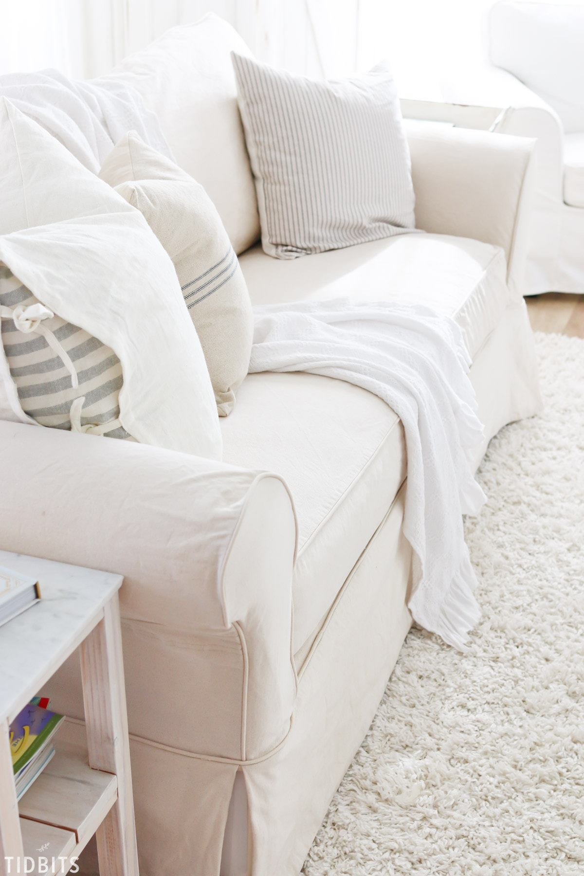 how to clean white denim slipcovers