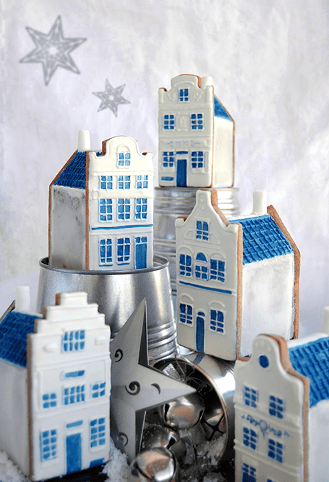 Blue Gingerbread houses