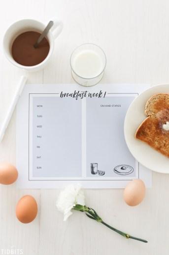 Breakfast Menu Planning Printables and Tips