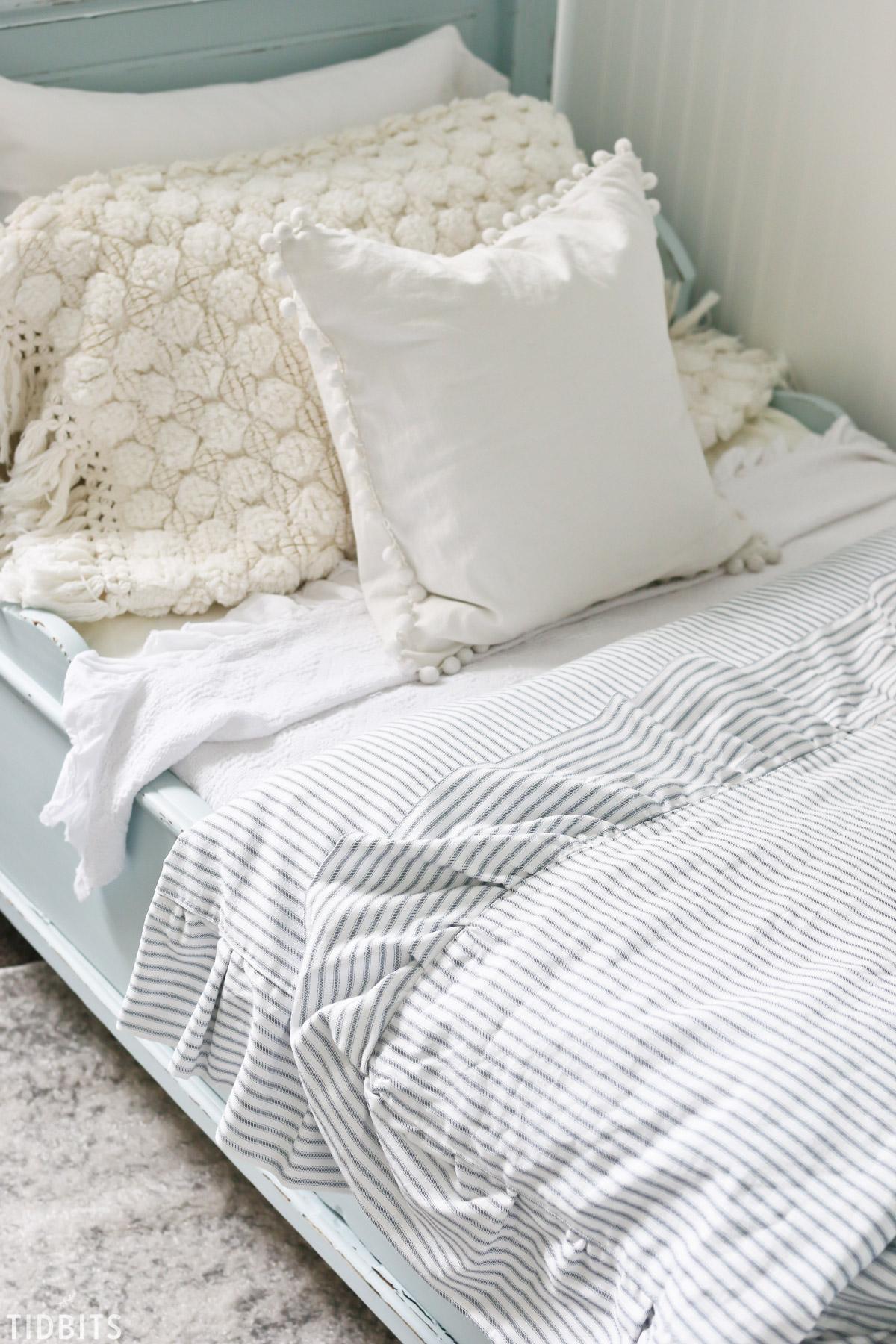 DIY Ruffled Duvet Cover, Ticking fabric