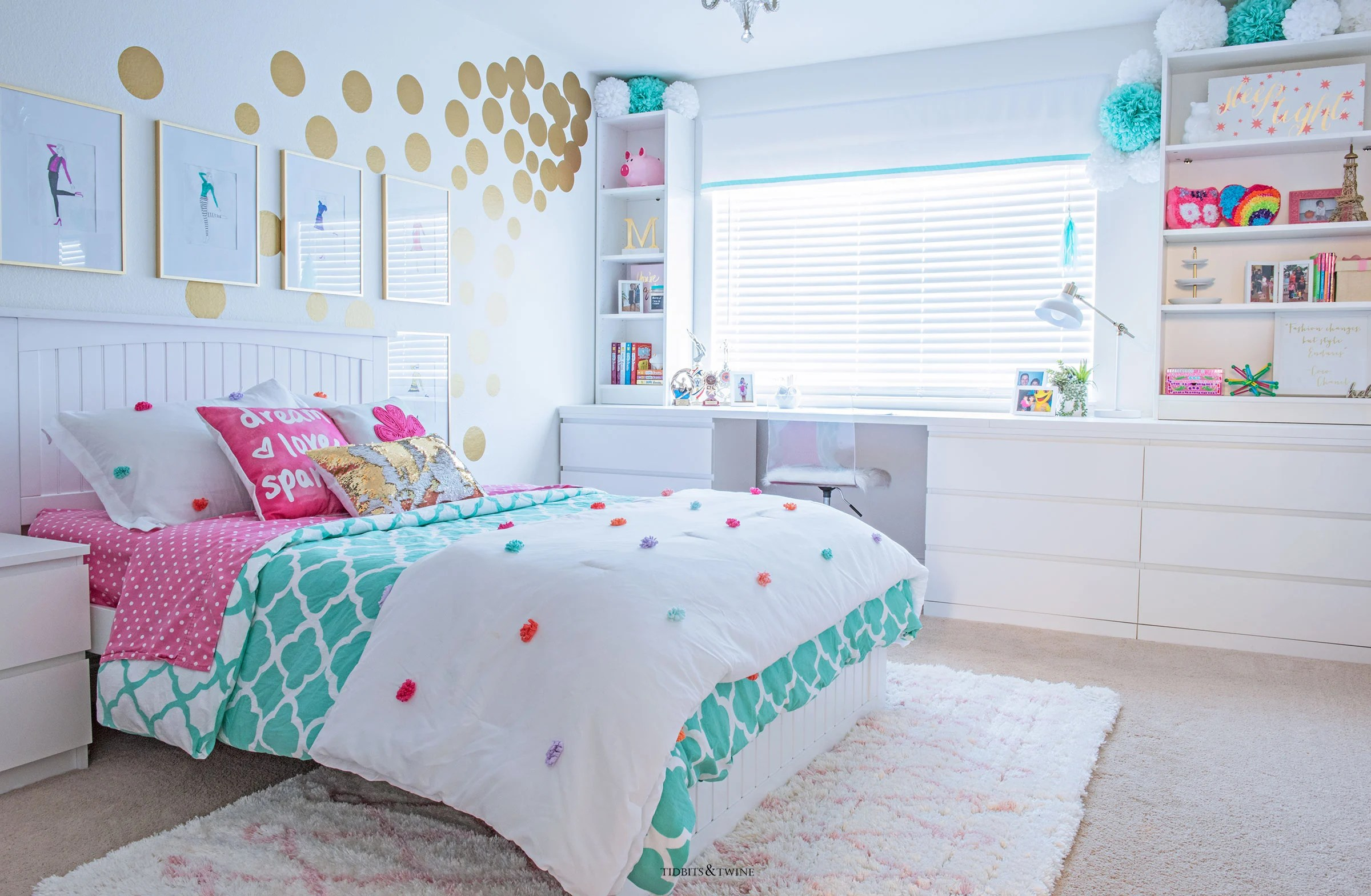 Tween Girl's Bedroom Makeover - REVEAL - TIDBITS&TWINE on Girls Bedroom Ideas For Small Rooms  id=12255