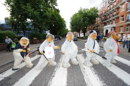 The Wombles crossing Abbey Road