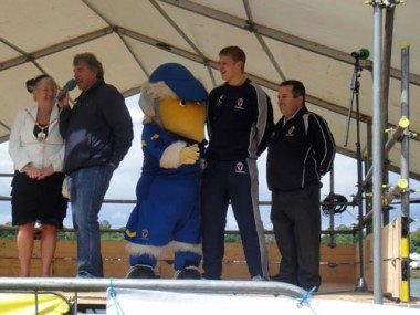 AFC Wimbledon's Haydon the Womble, Seb Brown and Ivor Heller