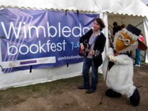 Julian Butler and Great Uncle Bulgaria outside the Wimbledon Bookfest tent
