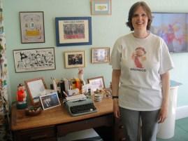 Tara with Elisabeth Beresford's desk