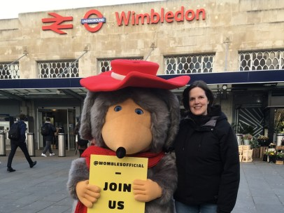 Tara with Orinoco outside Wimbledon station
