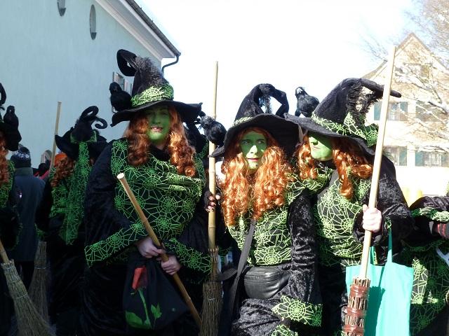 Faschingsumzug Obergünzburg 2013 - grün-schwarze Hexen