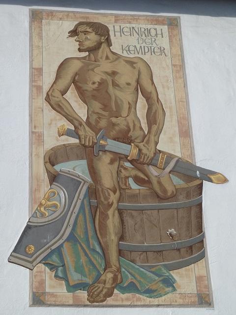 Heinrich der Kempter als Gemälde am Rathaus in Kempten