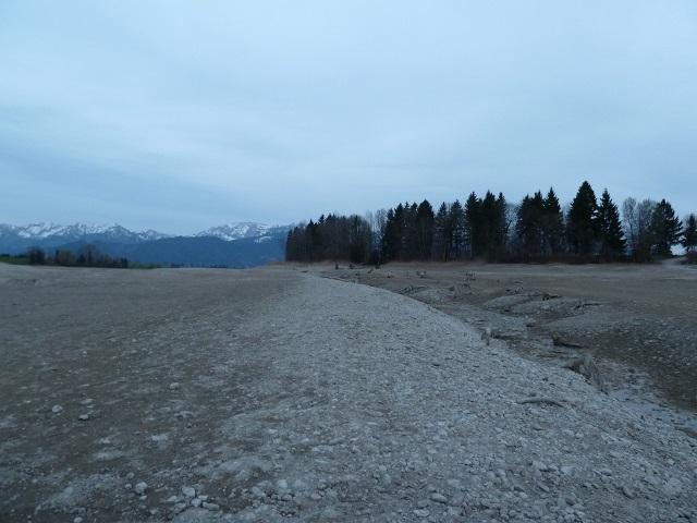 Verlauf der Via Claudia Augusta auf dem Grund des Forggensees