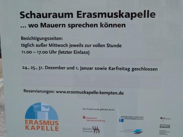 Besichtigungszeiten Schauraum Erasmuskapelle Kempten