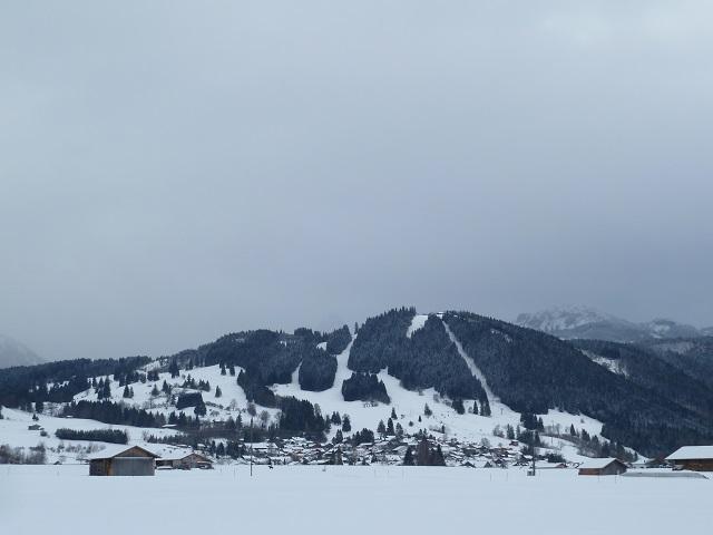 Blick auf Buching im Ostallgäu und den Buchenberg im Winter
