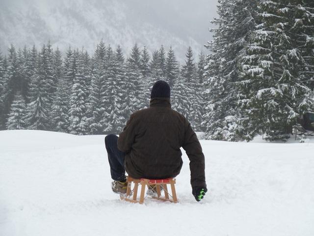 Rodeln von der Alpe Stubental im Januar 2017