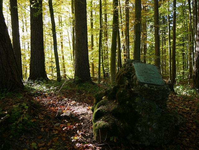 Nagelfluhfels mit Gedenkstein für Burg Liebenthann
