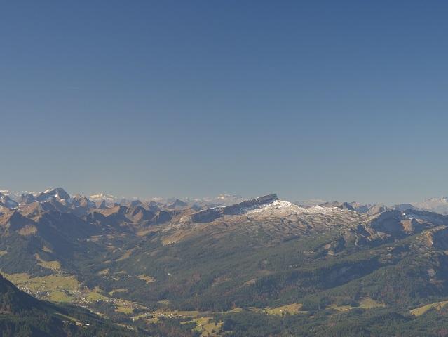 Blick vom Panoramasteig auf dem Nebelhorn auf den Hohen Ifen