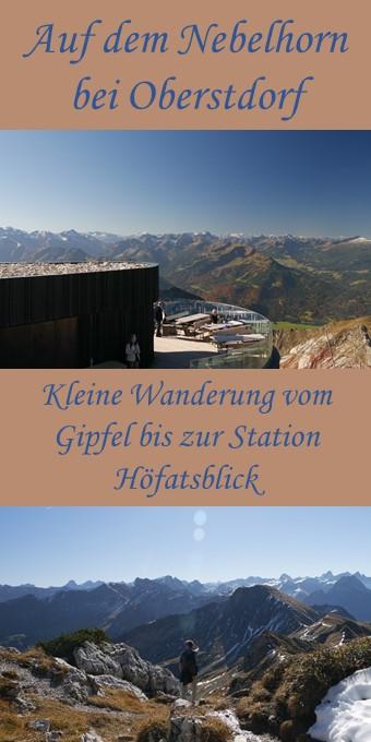 Auf dem Nebelhorn bei Oberstdorf - kleine Wanderung vom Gipfel bis zur Station Höfatsblick - Pin