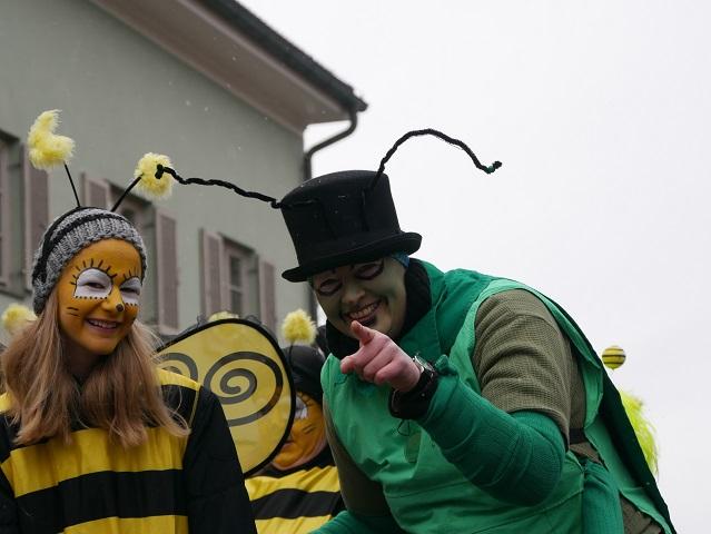 Biene Maja und Flip auf dem Faschingsumzug Obergünzburg 2018