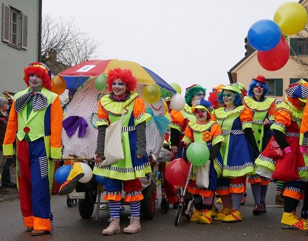 Clowns auf dem Faschingsumzug Obergünzburg 2018