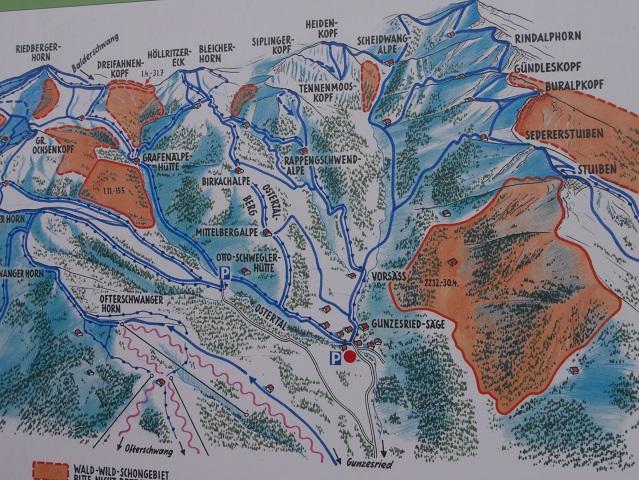 Karte der Wanderwege von Gunzesried-Säge aus