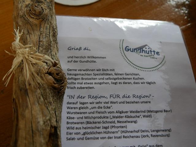 Speisekarte Gundhütte