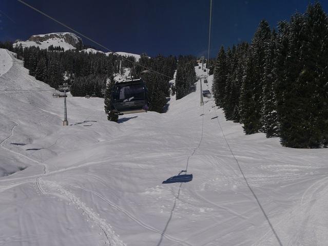 Blick aus der Gondel der Ifenbahn im Winter