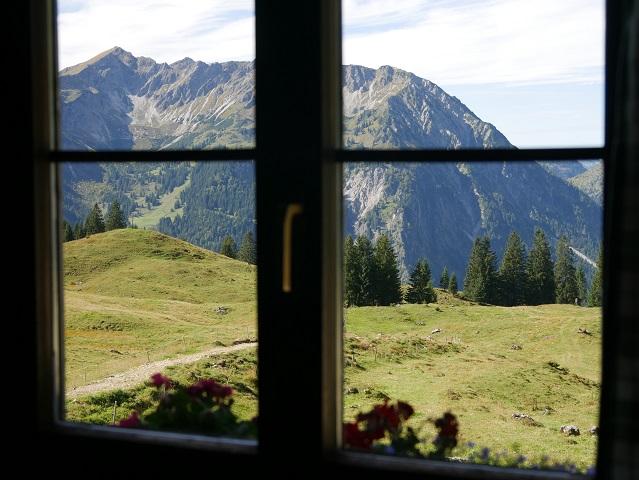 Blick aus dem Fenster das Gaststube in der Willersalpe bei Hinterstein