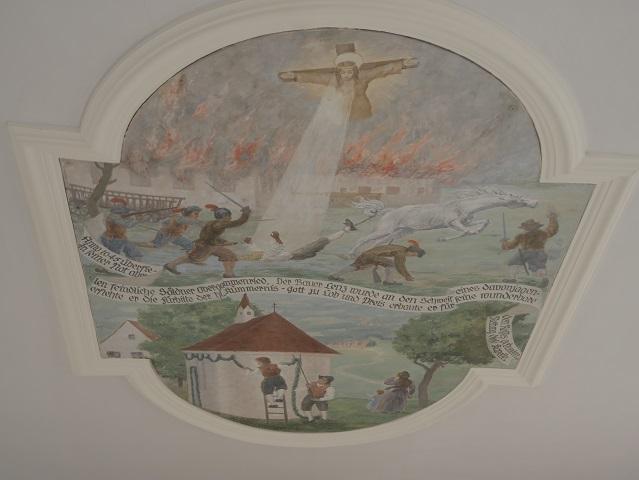 Deckengemälde in der Kapelle zur Hl Kümmernis Obergammenried