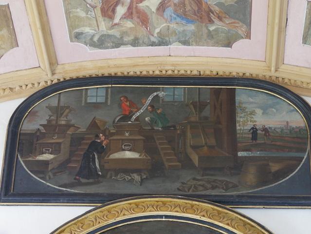Bildtafel mit dem Hostienwunder in der Riedkapelle in Benningen