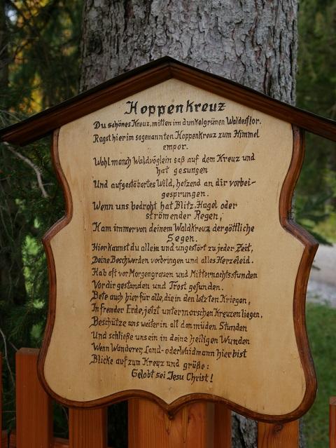Tafel am Koppenkreuz beim Faulensee