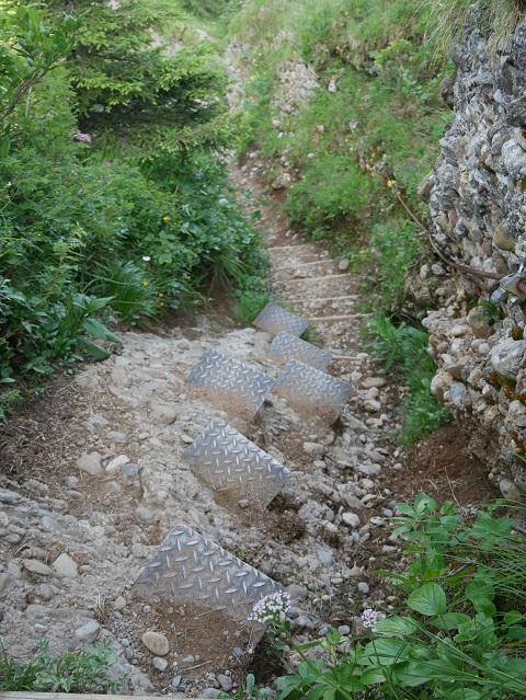 Stufen im Fels zwischen dem Seelekopf und dem Hochgrat