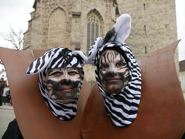 Zebra-Trophäen im Fasching