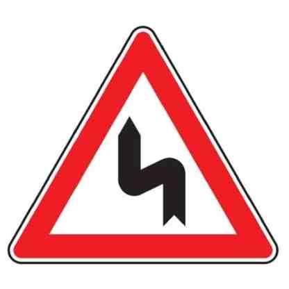 Doppelkurve zunächst links - Verkehrszeichen nach StVO
