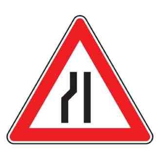 Einseitig links verengte Fahrbahn - Verkehrszeichen nach StVO