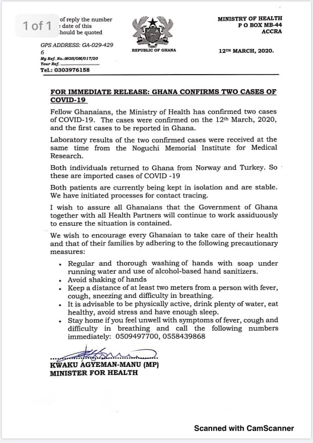 Corona Virus also know as Covid-19, a disease which sprang up earlier this year and had been declared pandemic by the World Health Organisation (WHO) is now in Ghana.