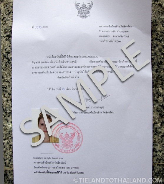 Thai Residence Certificate Sample