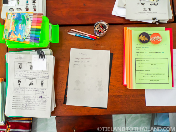 A teachers desk at a private school in Chiang Mai, Thailand