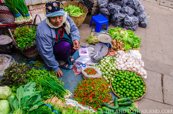 Friendly Thai Lady Selling Vegetables