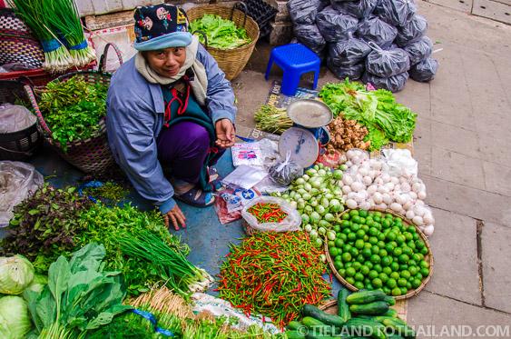 Friendly Thai Lady Selling Vegetables