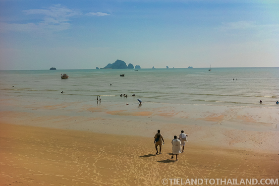 Digging for Clams Along Ao Nang Beach