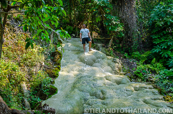 Walking up the Sticky Waterfalls in Chiang Mai