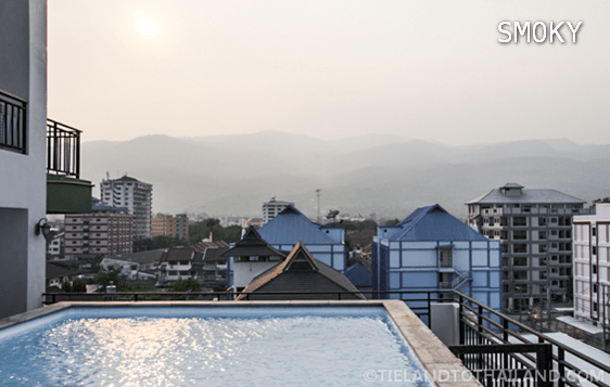 Hazy Poolside View of Doi Suthep