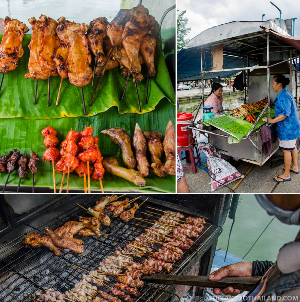 Somtum, chicken skewers, and sticky rice combo