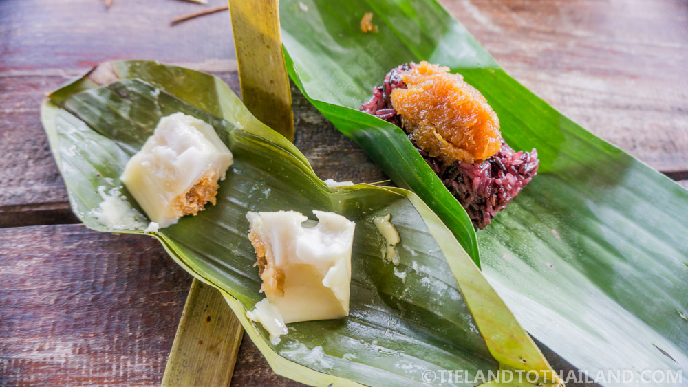 Thai sweets wrapped in banana leaves