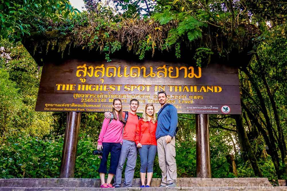 The highest point during our trip to Doi Inthanon: The Summit at 2,565 meters