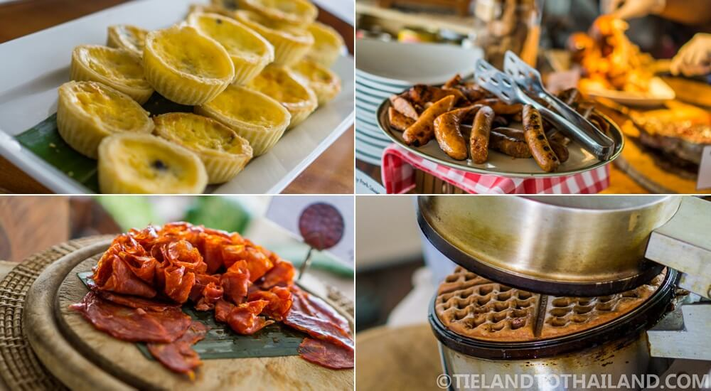 Sunday Brunch at Nikki Beach Koh Samui | Quiche, sausage, salami, and waffles