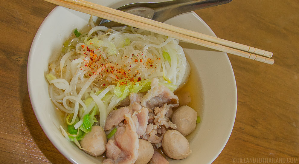 Safe to eat Thai street food: piping hot noodle soup