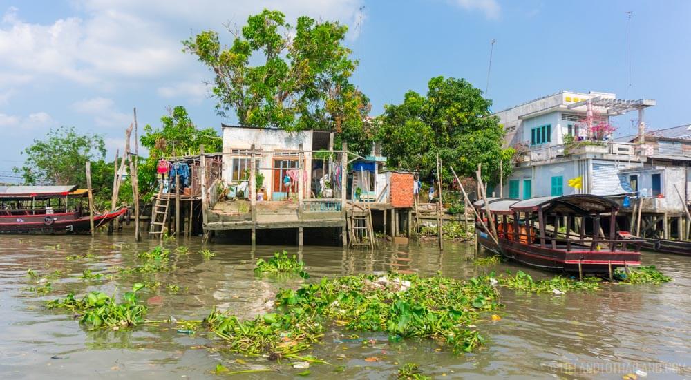 Stilt houses along the Mekong River