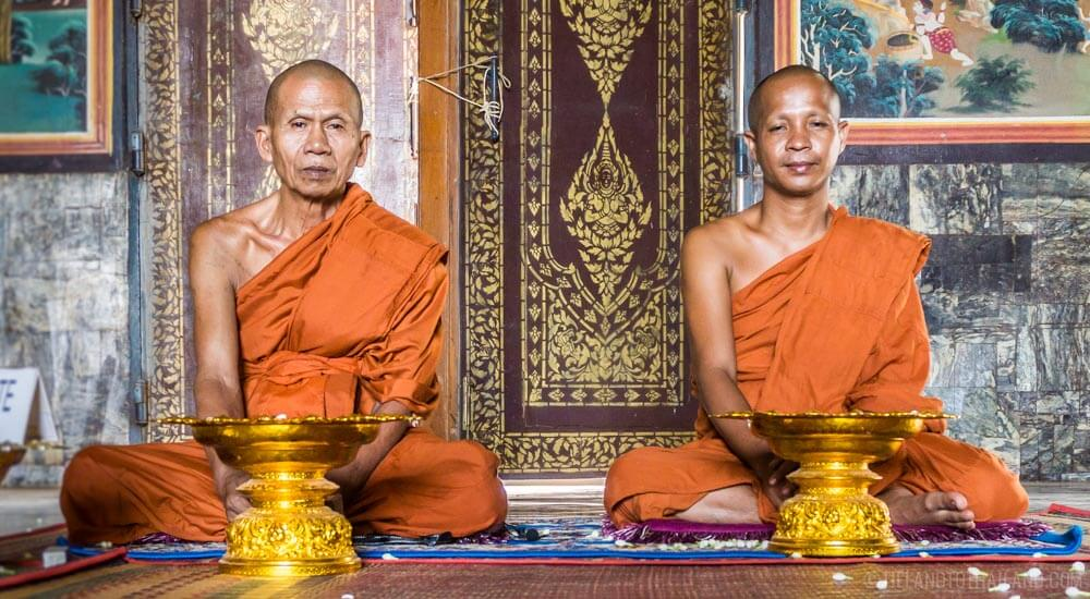 Monk blessing at U Dong Monastery in Kampong Cham