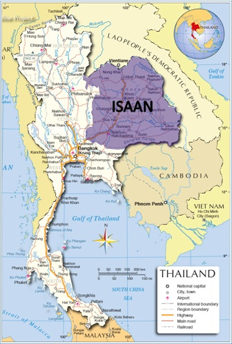 Isaan Map: One of Thailand's five regions