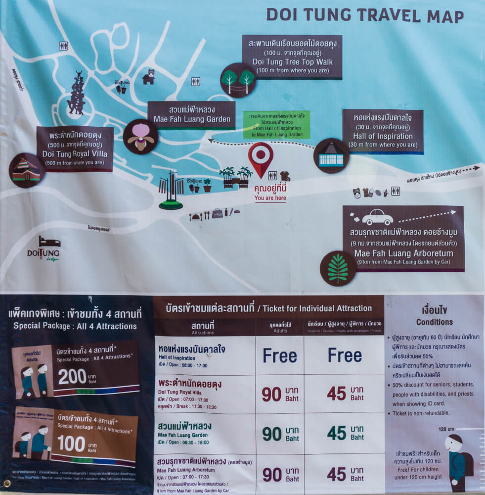 Doi Tung Ticket Prices in Chiang Rai, Thailand